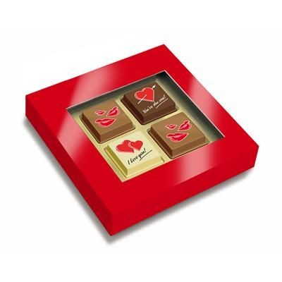Picture of BOX with 4 Printed Valentines Chocolate