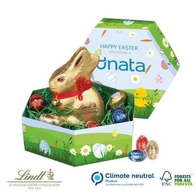 Picture of LINDT HEXAGONAL EASTER BOX with Lindt Bunny Rabbit & Mini Eggs