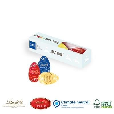 Picture of PERSONALISED LINDT LINDOR 3 X 18G EGG BOX