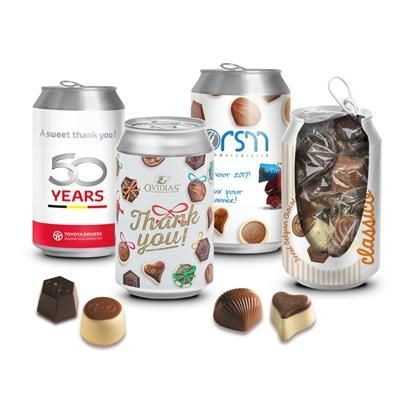 Picture of PERSONALISED CAN OF LUXURY BELGIAN CHOCOLATE TRUFFLES