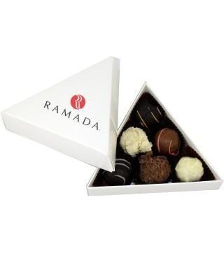 Picture of PERSONALISED TRIANGULAR CHOCOLATE TRUFFLE BOX
