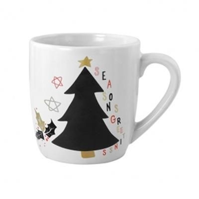 Picture of WHITE CERAMIC POTTERY CUP with Capacity of 250 Ml & Christmas Design on the Front