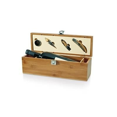 Picture of WINE SET in Deluxe Wood Gift Box 4 Pcs