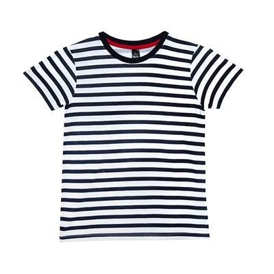 Picture of COTTON SAILOR STRIPE TEE SHIRT with Neck Navy Blue