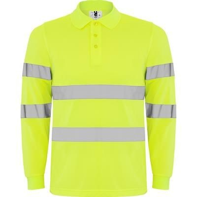 Picture of HIGH VISIBILITY LONG SLEEVE POLO SHIRT with Three Buttons Placket 1x1 Ribbed Collar & Cuffs