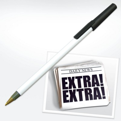 Picture of GREEN & GOOD NEWSPAPER PEN in White