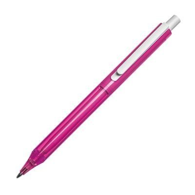 Picture of CLEAR TRANSPARENT PLASTIC BALL PEN in Pink