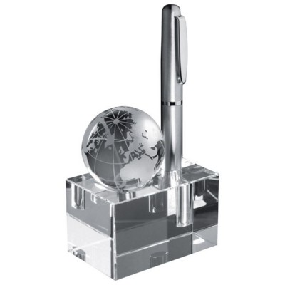Picture of GLASS CUBE PEN STAND with Loose World Globe