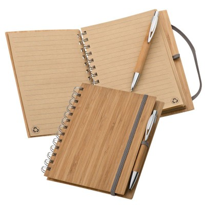 Picture of BAMBOO A5 NOTE PAD & BALL PEN in Brown