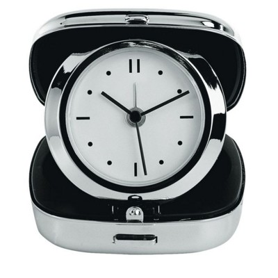 Picture of TRAVEL ALARM CLOCK in Polished Silver Chrome Box