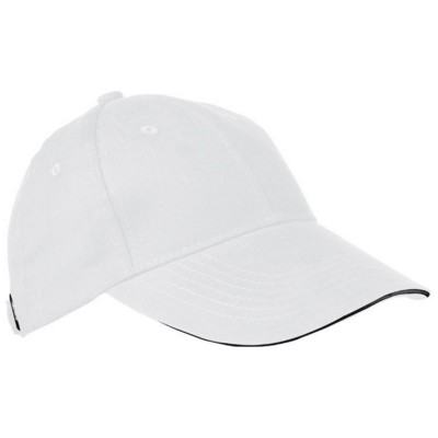 Picture of 6 PANEL SANDWICH PEAK BASEBALL CAP in White Heavy Brushed Cotton