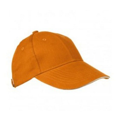 Picture of 6 PANEL SANDWICH PEAK BASEBALL CAP in Orange Heavy Brushed Cotton