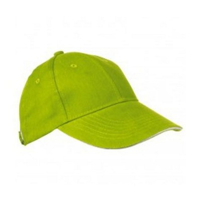 Picture of 6 PANEL SANDWICH PEAK BASEBALL CAP in Apple Green Heavy Brushed Cotton