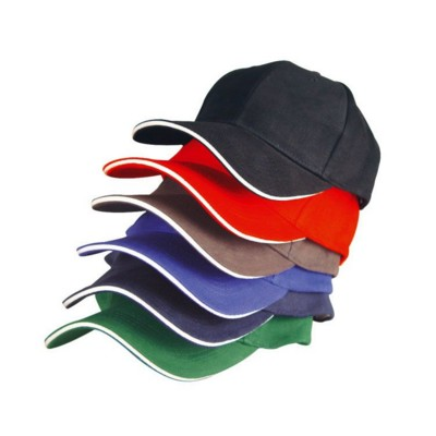 Picture of 6 PANEL SANDWICH PEAK BASEBALL CAP in Navy Blue Heavy Brushed Cotton