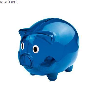 Picture of PLASTIC TRANSLUCENT PIGGY BANK MONEY BOX in Blue