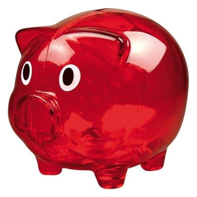 Picture of PLASTIC TRANSLUCENT PIGGY BANK MONEY BOX in Red