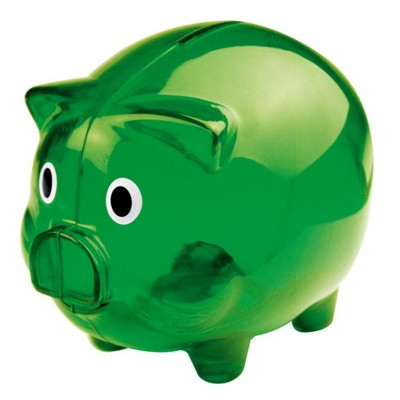 Picture of PLASTIC TRANSLUCENT PIGGY BANK MONEY BOX in Green