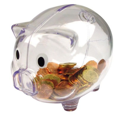 Picture of PLASTIC TRANSLUCENT PIGGY BANK MONEY BOX in Clear Transparent