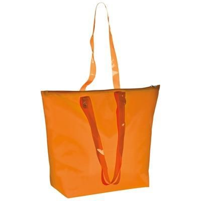 Picture of BEACH BAG with Clear Transparent Handles in Orange