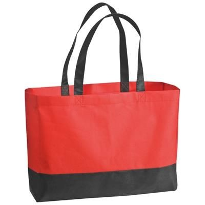 Picture of FOLDING NON WOVEN SHOPPER TOTE BAG in Red