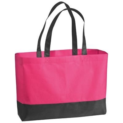 Picture of FOLDING NON WOVEN SHOPPER TOTE BAG in Pink