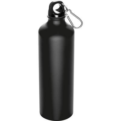 Picture of 800ML STAINLESS STEEL METAL DRINK BOTTLE with Snap Hook in Black