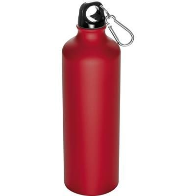 Picture of 800ML STAINLESS STEEL METAL DRINK BOTTLE with Snap Hook in Red