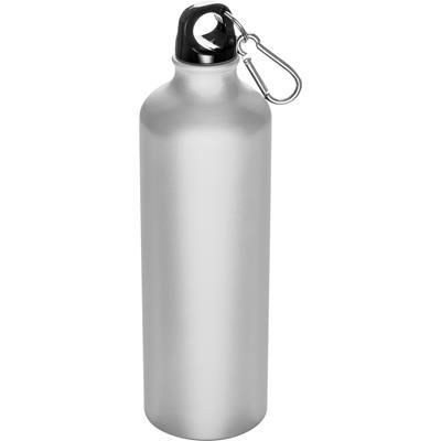 Picture of 800ML ALUMINIUM METAL DRINK BOTTLE with Snap Hook in White