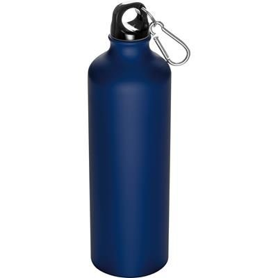 Picture of 800ML STAINLESS STEEL METAL DRINK BOTTLE with Snap Hook in Dark Blue