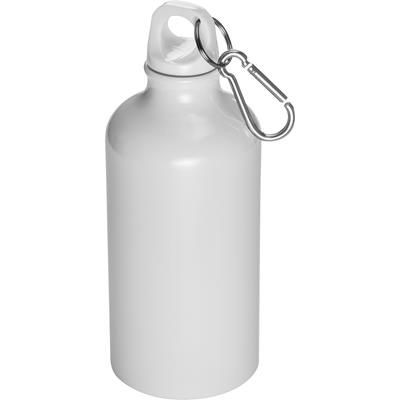 Picture of 500ML STAINLESS STEEL METAL DRINK BOTTLE with Snap Hook in White
