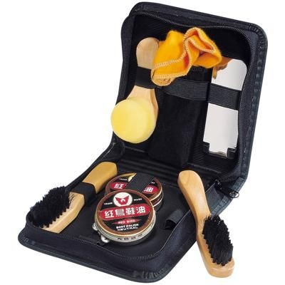 Picture of COMPLETE SHOE SHINE KIT in Black Fashionable Zip Case