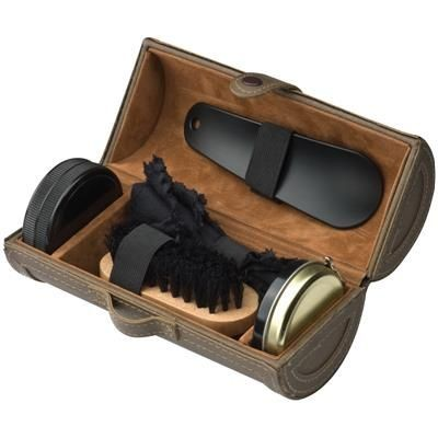 Picture of SHOE SHINE KIT in Brown PU Tube
