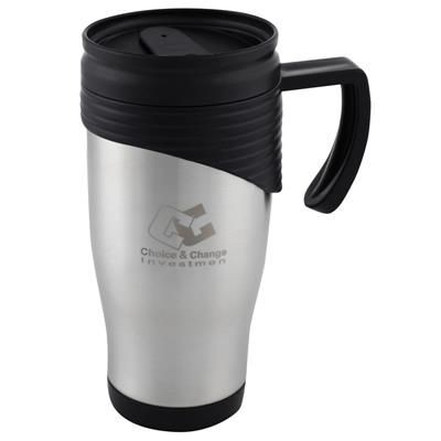Picture of DOUBLE WALLED SILVER STAINLESS STEEL METAL TRAVEL MUG