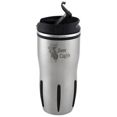 Picture of LEAKPROOF THERMAL INSULATED SILVER STAINLESS STEEL METAL TRAVEL MUG