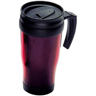 Picture of THERMAL INSULATED PLASTIC TRAVEL MUG in Red