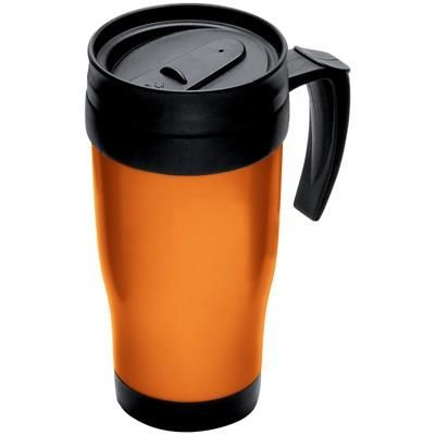 Picture of THERMAL INSULATED PLASTIC TRAVEL MUG in Orange