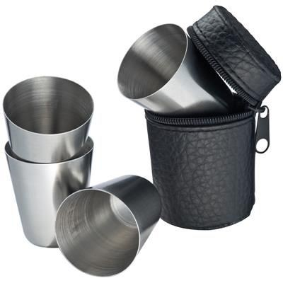 Picture of FOUR STAINLESS STEEL METAL CUP in Black Case