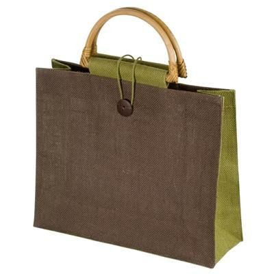 Picture of JUTE BAG with Bamboo Grip in Green