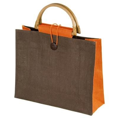 Picture of JUTE BAG with Bamboo Grip in Orange