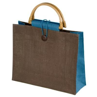 Picture of JUTE BAG with Bamboo Grip in Light Blue