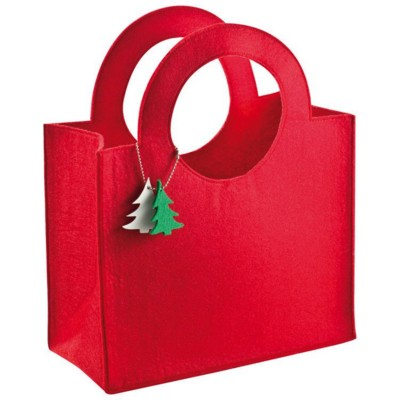 Picture of FELT SHOPPER TOTE BAG with Tree Pendant in Red