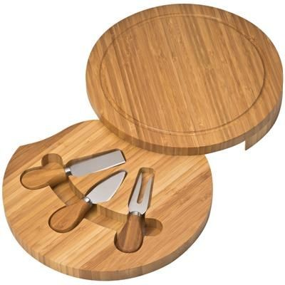 Picture of BAMBOO CHOPPING BOARD & CHEESE SET in Brown