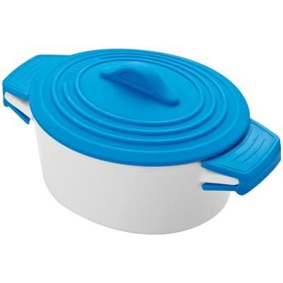 Picture of PORCELAIN FOOD POT with Silicon Lid & Heat Protected Handles in Blue