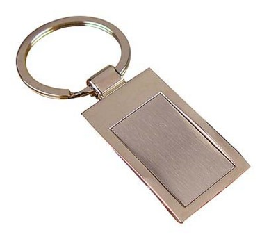 Picture of RECTANGULAR METAL KEYRING in Silver