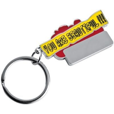 Picture of YOU ARE BEAUTIFUL KEYRING in Red