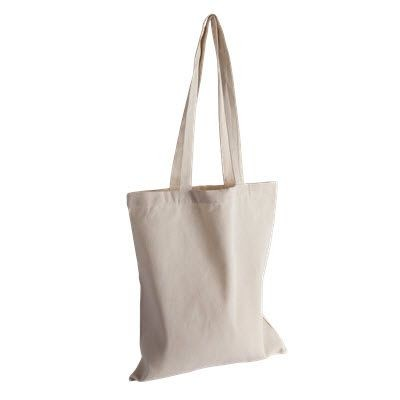 Picture of ORGANIC INVINCIBLE LONG HANDLE COLOUR COTTON SHOPPER TOTE BAG in Natural