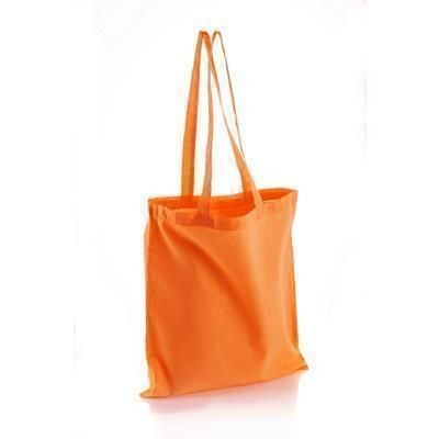 Picture of INVINCIBLE LONG HANDLE COLOUR COTTON SHOPPER TOTE BAG in Orange