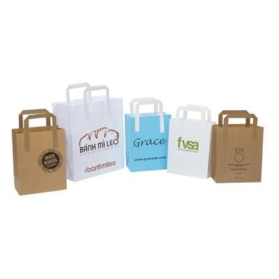 Picture of KRAFT FLAT PAPER TAPE HANDLE CARRIER BAG