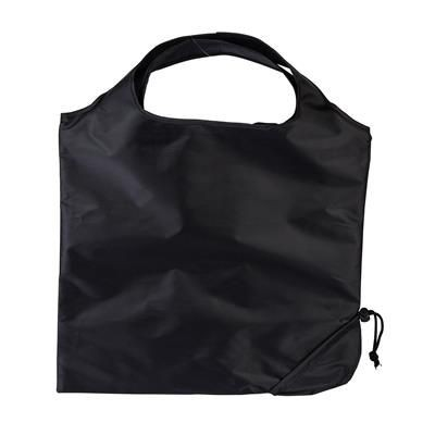 Picture of TRIUMPH SCRUNCHIE BLACK POLYESTER FOLDING SHOPPER TOTE BAG with Pouch