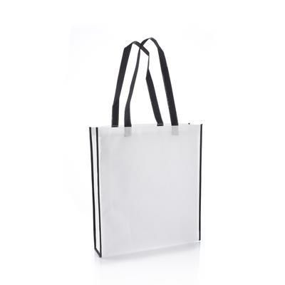 Picture of VIRGINIA NON WOVEN PP TOTE BAG in White with Black Colour Handles & Trim